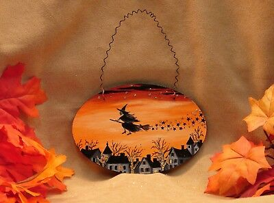 Hand Painted Halloween Wood Ornament Glitter Flying Witch Village Stars
