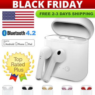 Bluetooth Wireless Headset i7s TWS Earbuds Twins In Ear Earphone w Charger Box -