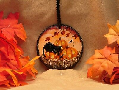 Hand Painted Halloween Slate Ornament Glitter Black Cat Bats JOL Autumn Leaves