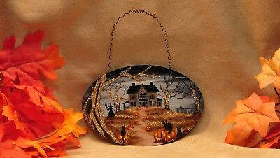 Hand Painted Halloween Wood Ornament Glitter Haunted House Witch Cats Ghost JOL
