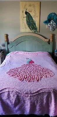 Vintage Beautiful Peacock Chenille Full Size Bedspread Pink/multi