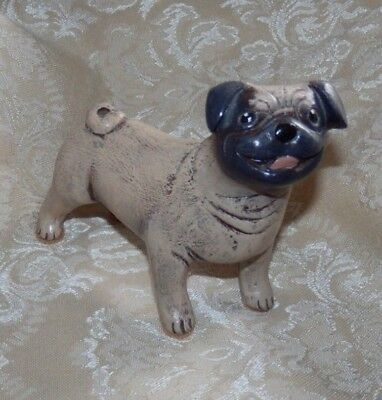 PUG FIGURINE Dog Sculpture Lynda Pleet 1996
