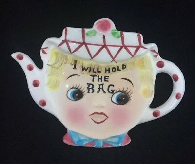Lefton Dainty Miss Tea Bag Holder 64 B Teapot Girl Face Vintage 50's Japan