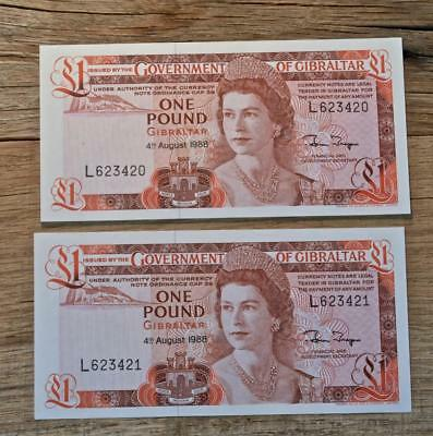 2 Consecutive 1988 Gibraltar 1 Pound Notes, Government Of Gibraltar, Gem CU