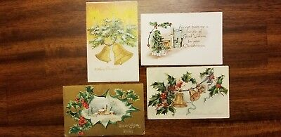 Lot Of Four Antique Christmas Postcards With    1 Cent Stamps Turn of Century