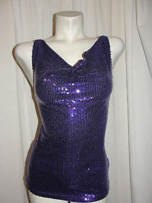 Tally Weijl Top Women's Size S Sexy Purple Sequin Front X-strap Tie-back Shirt