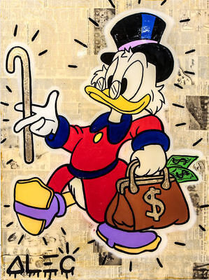 Alec Monopoly Handcraft Oil Painting on Canvas ,Scrooge Carrying Money 24×32