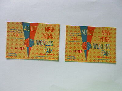 LOT of 2 - 1964-1965 New York World's Fair Adult Tickets GREAT SHAPE