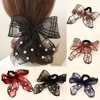Women Large Lace Bow Pearl Hair Band Rope Ring Elastic Hairband Ponytail Holder