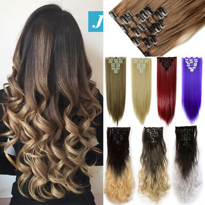 100% Real Natural as Human 8pcs/set Full Head Clip In Hair Extensions Blonde PT7