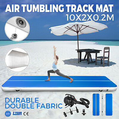 Inflatable Gym Mat Air Tumbling Track Floor w/Pump Running Gymnastics Training