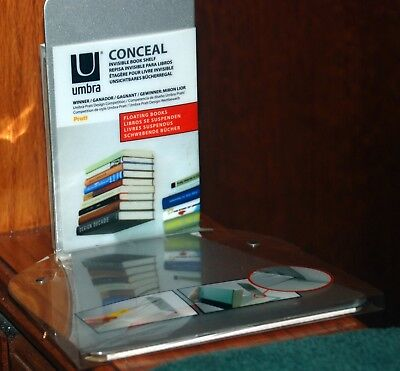 UMBRA Conceal Invisible Floating Bookshelf Small Silver 330637 560 NEW