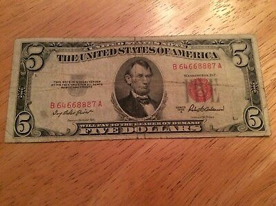 1953 (Five Dollar) $5 Bill***Red Seal* US Currency