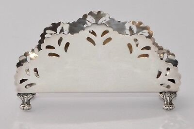 61g - 925 Sterling Silver Napkin Holder / Letter Holder - Pierced with Claw Feet