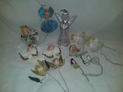 Vintage Felt Pipe Cleaner Tulle Net Wire Wings Christmas Ornaments Angel