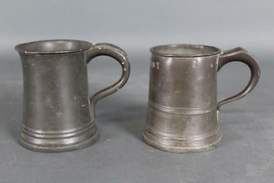 Two Signed John Yates 19Th C Pewter 1/2 Pint Mugs In Old Surface With Hallmarks