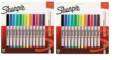 Sharpie Permanent Markers Ultra Fine Point 12 Count Assorted Colors 2 Pack