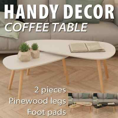vidaXL 2x Solid Pine Wood Coffee Table Set End Side Living Room Multi Colours