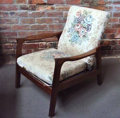 RECLINER CHAIR - TIMBER DANISH STYLE - 60's VINTAGE RETRO