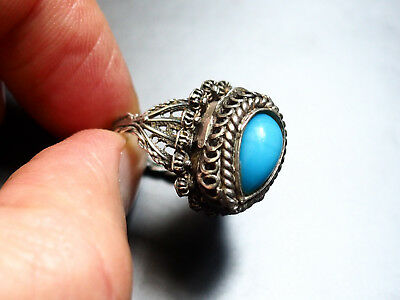 Antique Ottoman Silver Ring Stamp Tugra Stone 1850 Turquoise Treasure Aujour Old