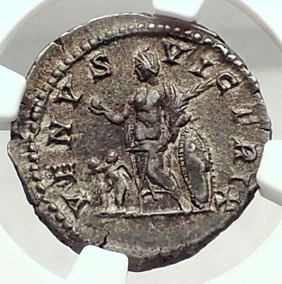 PLAUTILLA Wife of Caracalla Authentic Ancient 202AD Silver Roman Coin NGC i72900