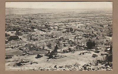 De Norte, Colo/ panorama view from Mt. Lookout/ homes/ bldgs/ fields/RPPC