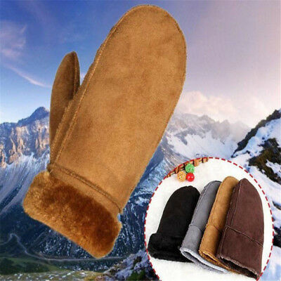 Women's Girl Real Sheepskin Mittens Gloves Fur Trim Leather Winter Warm Glove TR