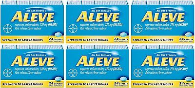Aleve Pain Reliever/Fever Reducer Caplets, 24 ea (Pack of 6)