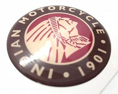 Indian Motorcycle Head Logo Badge 3D Domed Sticker. Brown Red. 60mm diam.
