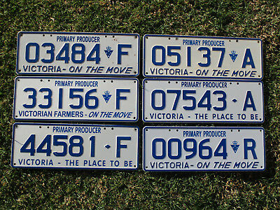 Australia Victoria Set of Primary Producer Number Plates 6 in Total.