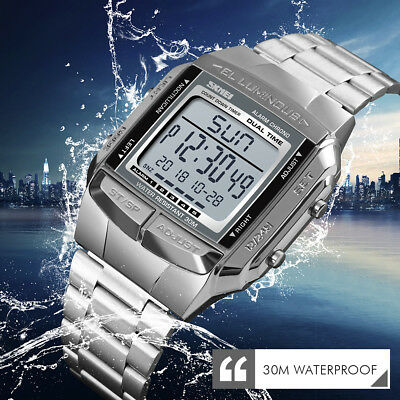 Men Women Quartz LED Digital Stainless Steel Alarm Waterproof Square Dial Watch