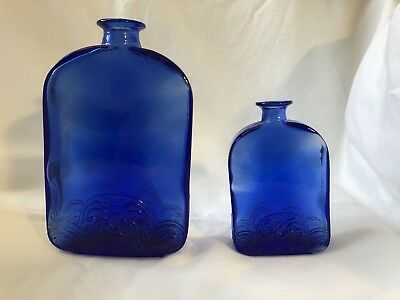 2 Antique Cobalt Blue Bottles