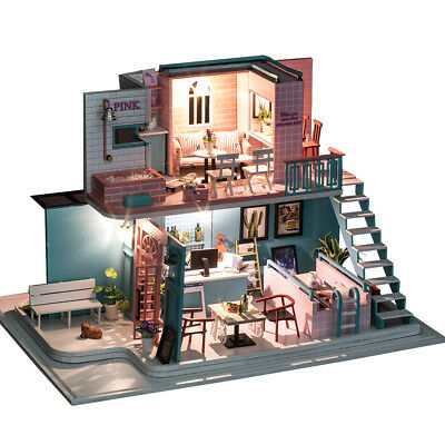 DIY Wooden Toy Doll House Miniature Kit Pink Coffee Shop Dollhouse Music Gifts