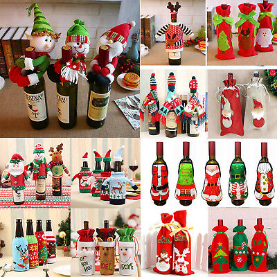 Lovely Christmas Ornaments Santa Snowman Elf Wine Bottle Cover Table Xmas Decor