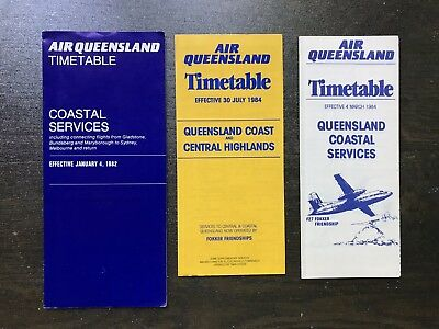 Air Queensland 1982 & 1984 Timetable Collection