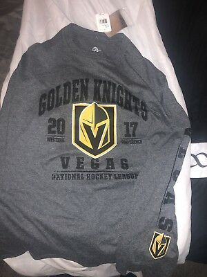 Las Vegas Golden Knights Shield VGK Men's Long Sleeve Grey T-Shirt L