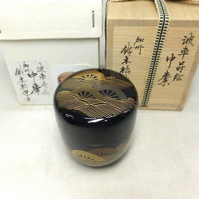 H288: Japanese lacquer ware powdered tea container w/fine MAKIE of NAMI-GURUMA
