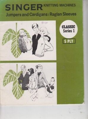 Knitting Machine Pattern Book Singer Series 1 - Jumpers,cardigans -5 Ply