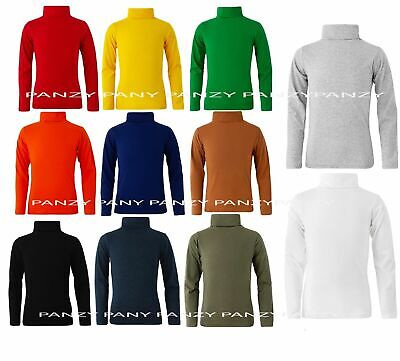 Kids Boys Girls 95% Cotton Polo Neck Jumper Top Roll Neck Long Sleeved Tops