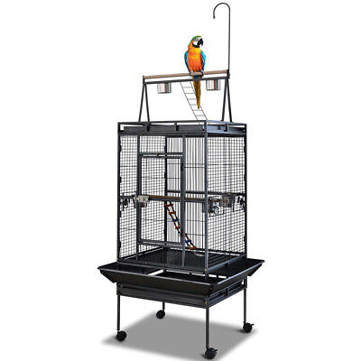 173CM Bird Cage Parrot Aviary Pet Stand-alone Budgie Perch Roof Castor Wheels