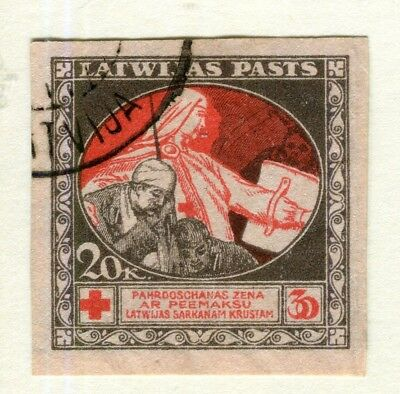 LATVIA; 1920 early Red Cross issue fine IMPERF used 20k. value