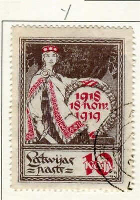 LATVIA; 1919 Independence Anniv. issue fine used 10k. value Type Y