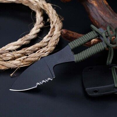 "5"" Mini Pocket Tactical Fixed Blade Knife Blade Open Finger Paw Fishing Neck"