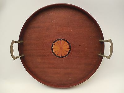 """Antique Mahogany Serving Tray by Manning Bowman & Co. 15"""" Dia. ORIGINAL FINISH"""