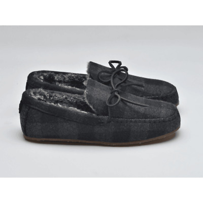Mens Lazy Dogz Real Suede Slippers Leather Faux Fur Lined Moccasin Loafers Size