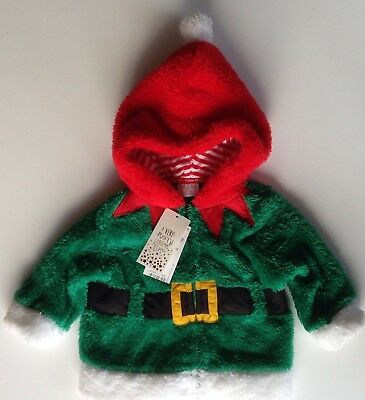 BABY ELF OUTFIT Fleece Hoodie Xmas Christmas Green Red TESCO 3-6 Months BNWT