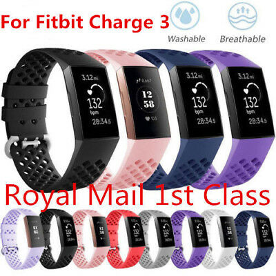 Sport Silicone Soft Band Strap Bracelet Breathable For Fitbit Charge 3 Watch UK