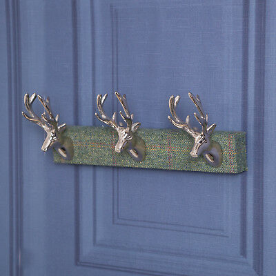 Tartan Wall Stag Hooks Wall Mounted Stag Head Wood Metal Storage Country Style