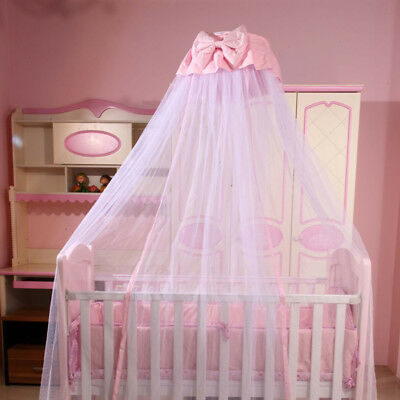 Nursery Baby Crib Cot Bed Canopy Bowknot Decor Mosquito Net with/without Stand