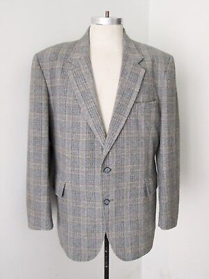 Vtg 70s SUPERFLY Gray Blue Plaid Wool Tweed Disco Pimp Blazer Sears Jacket 44